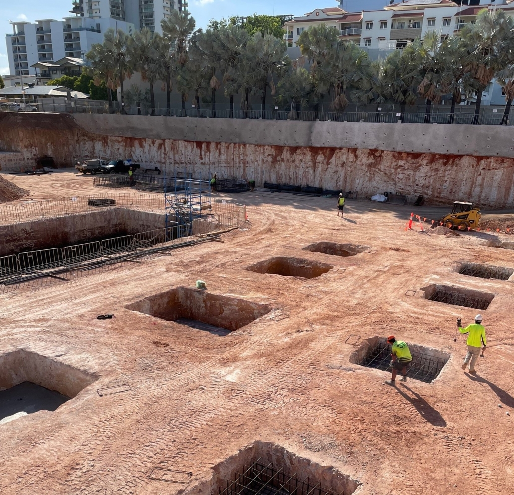 Footings under construction