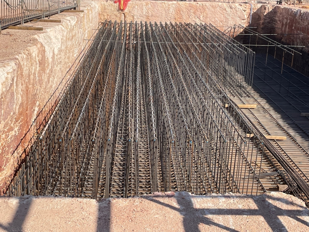 Steel work to support a 524 cubic metre slab under the lift shaft of the Education and Community Precinct.
